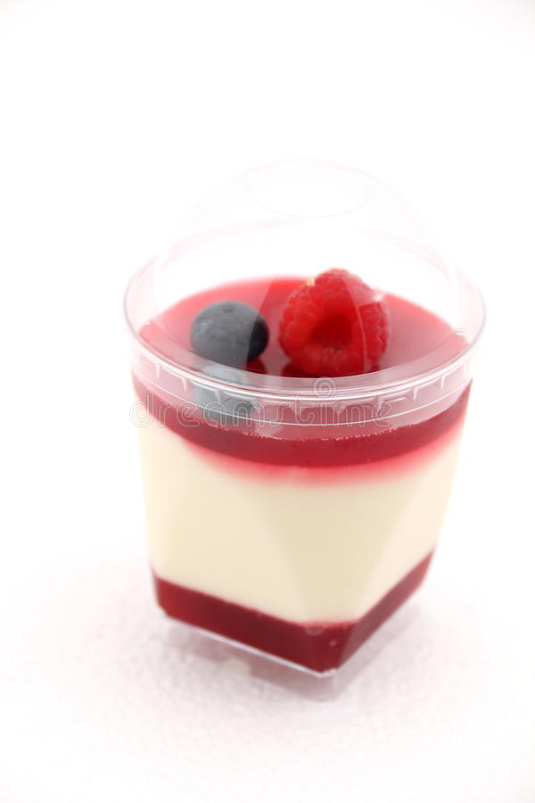 Delicate raspberry panacotta decorated with fresh fruit. stock image