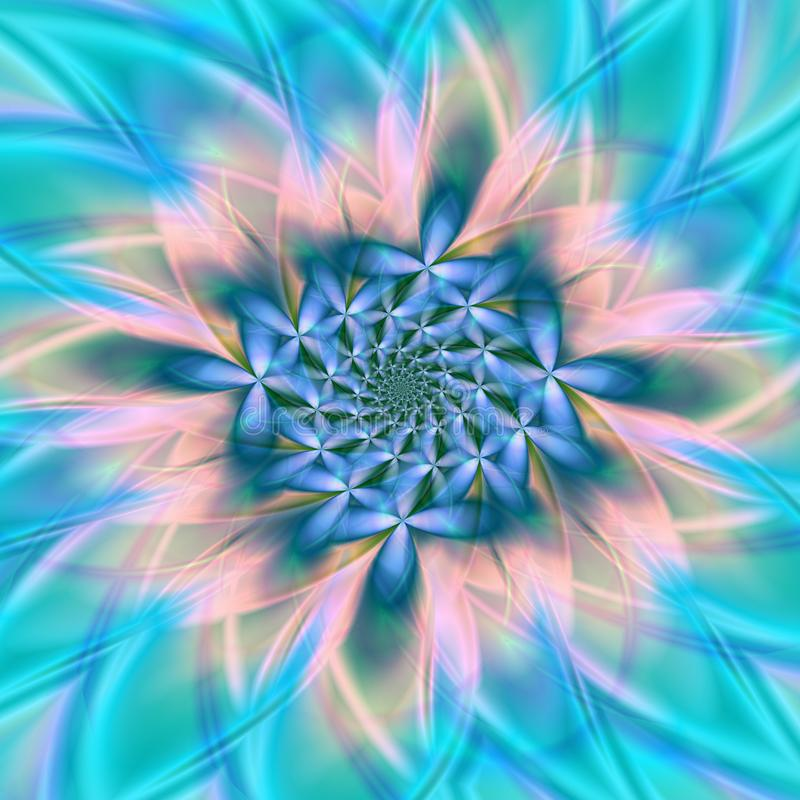 Delicate and romantic wild-floral spiral fractal in blooming glow royalty free illustration