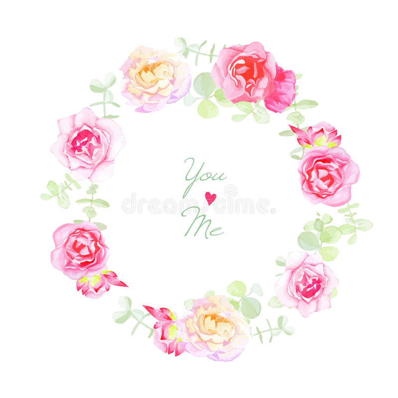 Delicate roses wedding wreath vector card royalty free illustration