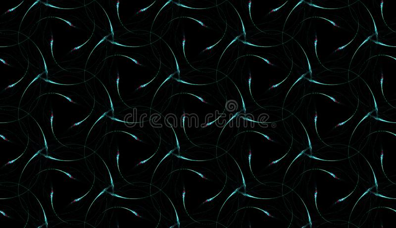 Delicate seamless pattern on black background. Abstract ornament of repeating glowing swirls. Perfect for polygraphy, textile and web design vector illustration