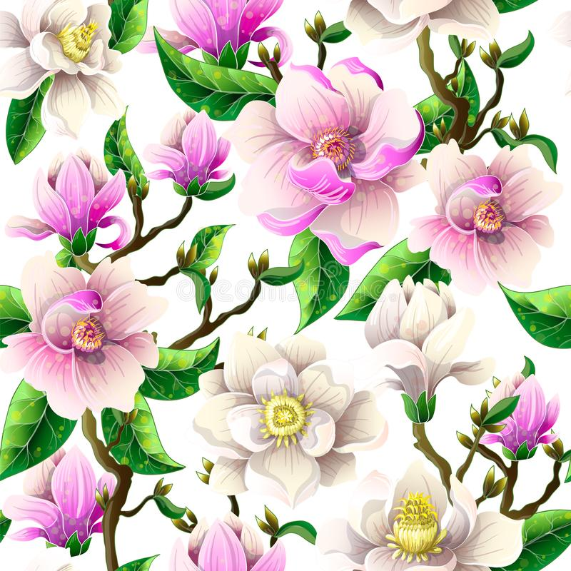 Delicate seamless pattern with magnolia flowers on a white background. Vector illustration. vector illustration
