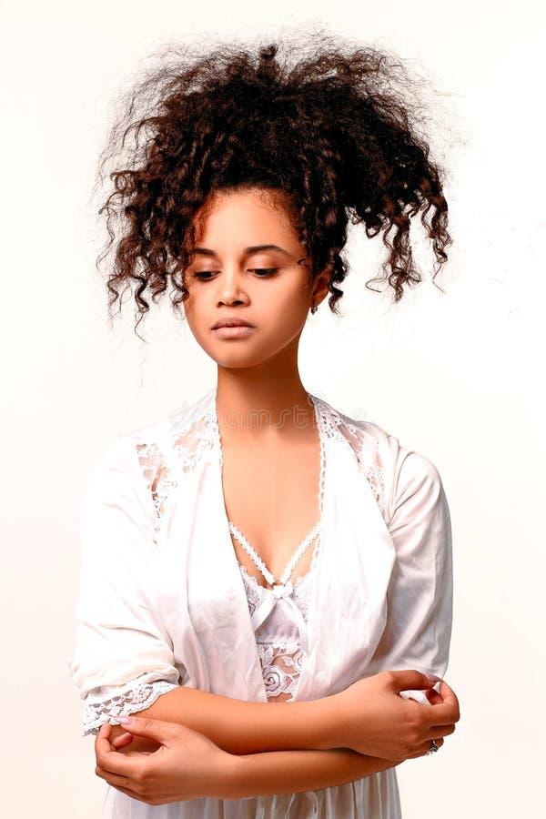 Delicate and sensual black girl stock photo