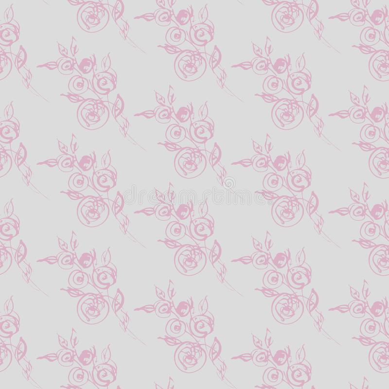 Delicate silhouette of graceful roses on grey background, seamless pattern. Romantic pattern vector illustration