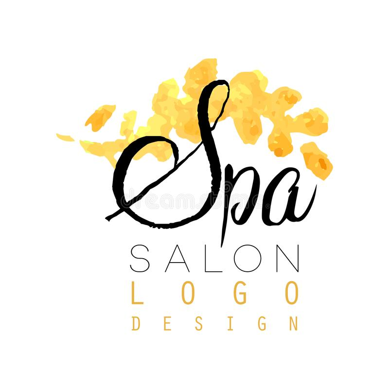 Delicate spa logo original design. Feminine label with gentle colors. Healthcare and relaxation concept. vector illustration