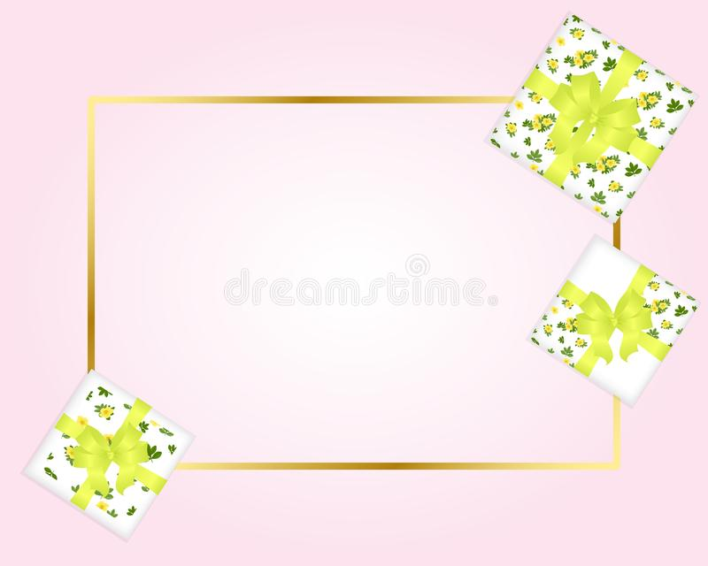 pink with gold frame.Gift boxes with floral print, yellow Lapcha stock illustration