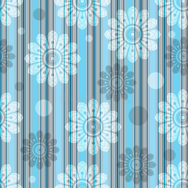 Delicate striped blue-gray seamless pattern with translucent flowers stock illustration