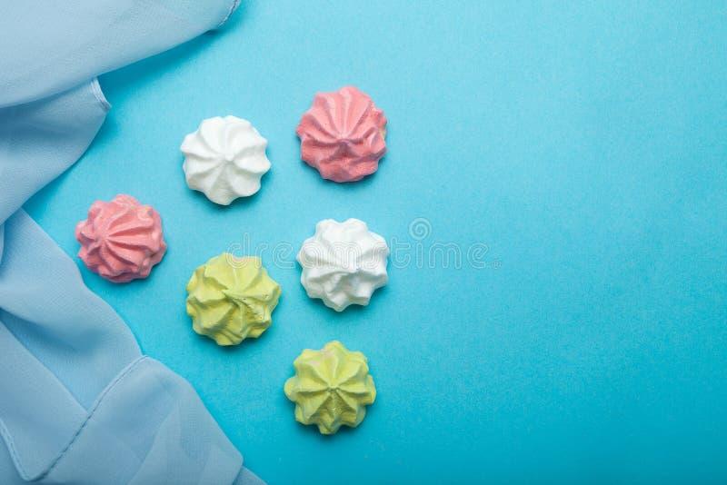 Delicate taste, French meringue dessert - sweet kiss for St. Valentine`s Day stock photos