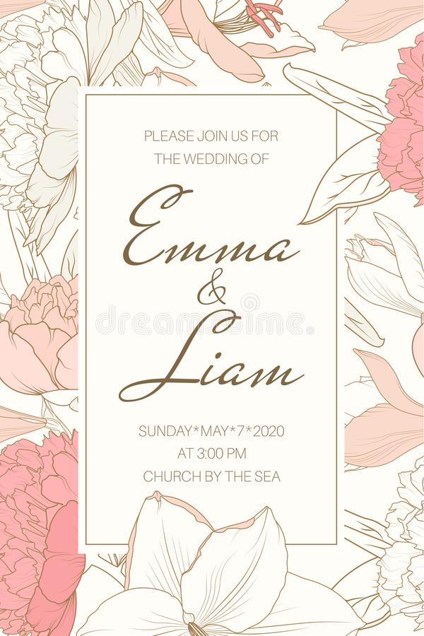 Delicate tender floral frame from pink rose peony white lily flowers. Beautiful wedding invitation card template. vector illustration