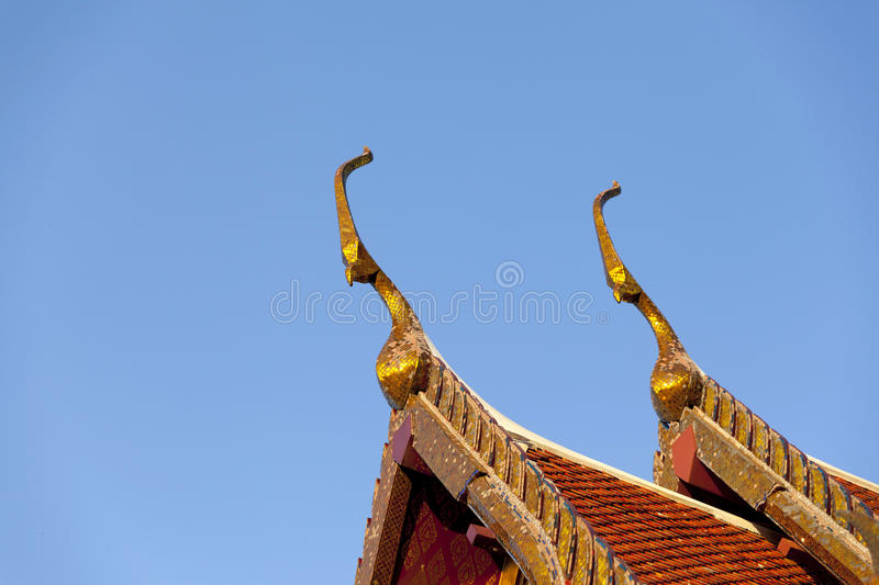 Delicate Thai art roof royalty free stock image
