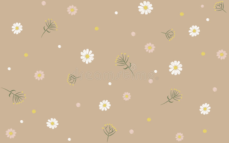 Delicate Trendy Seamless Floral Print Pattern Beige Chamomile Daisy Flower field vector illustration embroidery. Art vector illustration