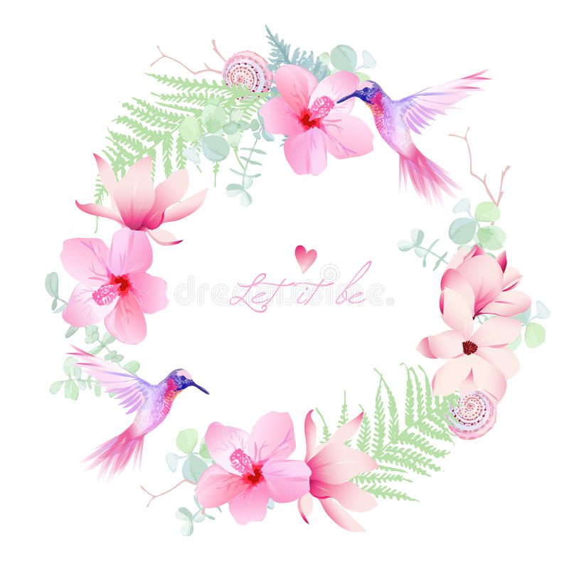 Delicate tropical flowers with flying hummingbirds round vector vector illustration