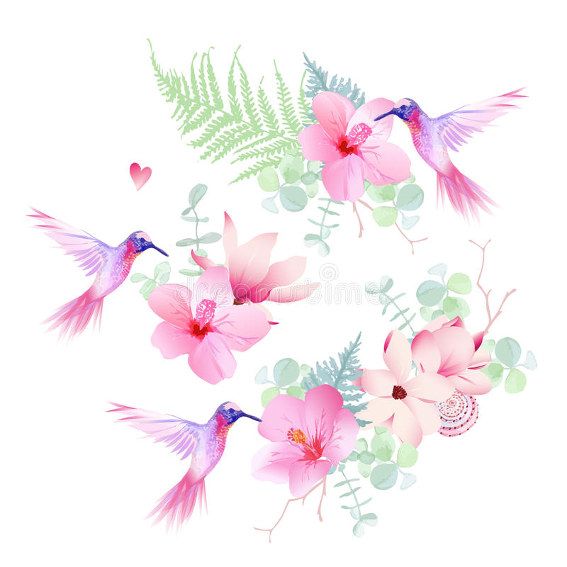 Delicate tropical flowers with flying hummingbirds vector design royalty free illustration