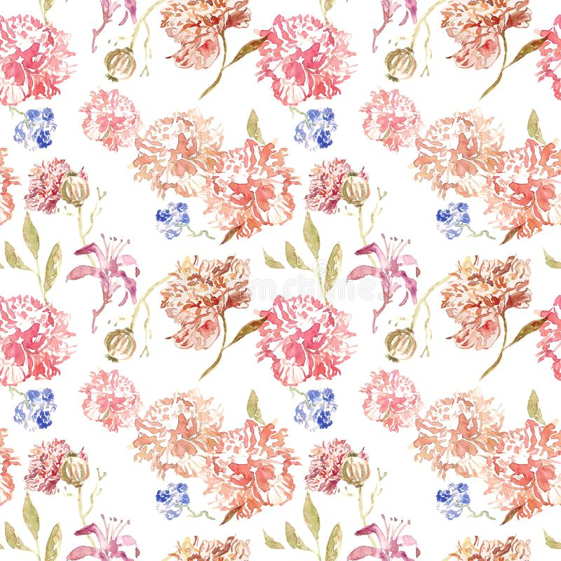 Delicate watercolor floral seamless pattern with pink and beige roses and peony flowers on white background. Chinese style. vector illustration
