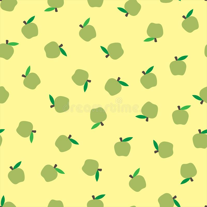 Delicate yellow pastel seamless background with green apples. Autumnal seasonal background, school. bright fruits stock illustration