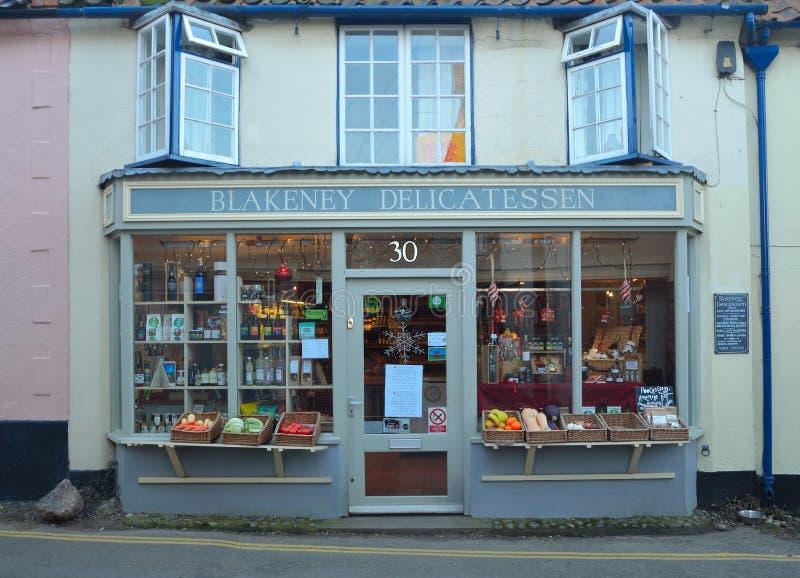 Delicatessenwinkel voorblakney Norfolk stock foto's