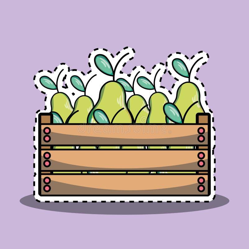 Delicios和新鲜的梨果子在篮子里面 库存例证