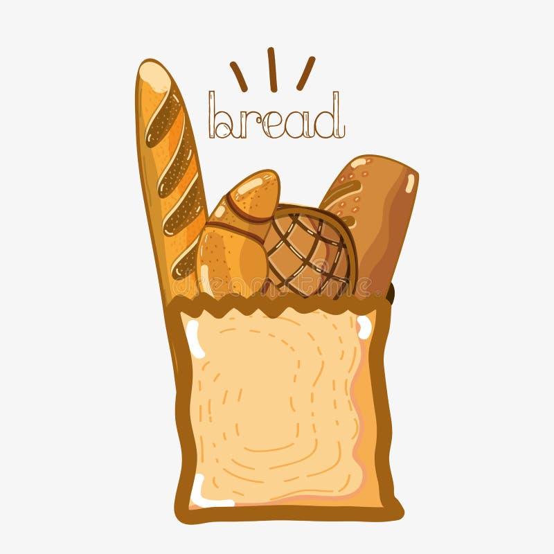 Delicios-Arten von Broten innerhalb der Tasche stock abbildung