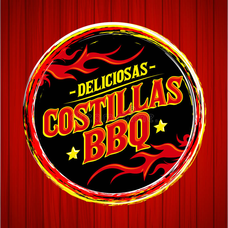 Deliciosas Costillas BBQ - Delicious BBQ Ribs spanish text. Grunge rubber stamp, fast food icon, emblem - eps available vector illustration