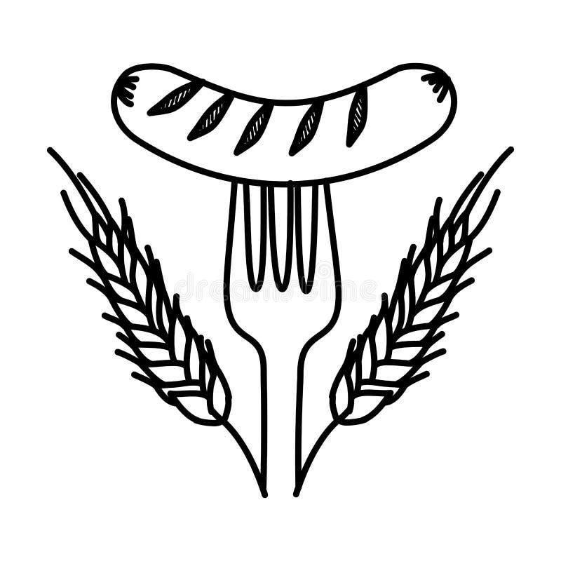 Delicioso frankfurter de salsicha com coroa ilustração do vetor