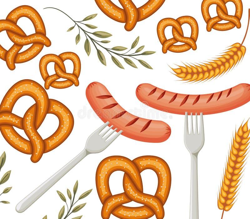 Delicioso frankfurter de salsicha com padrão de pretzel ilustração do vetor