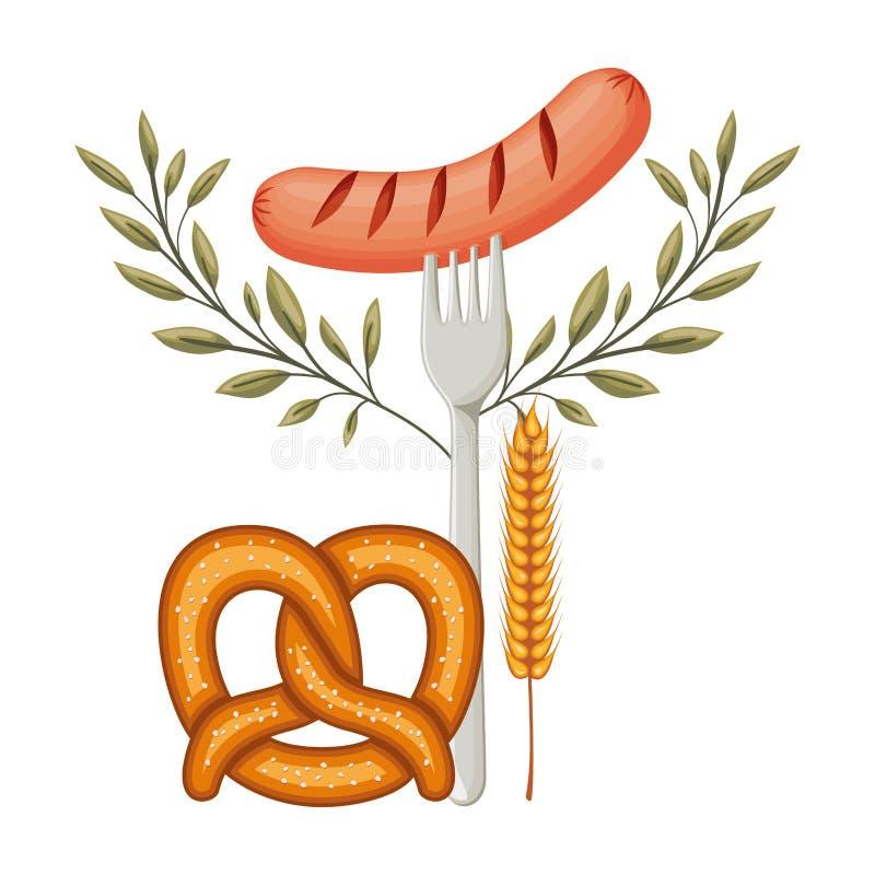 Delicioso frankfurter de salsicha com pretzel ilustração stock
