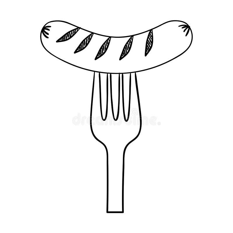 Delicioso frankfurter de salsicha em garfo ilustração stock