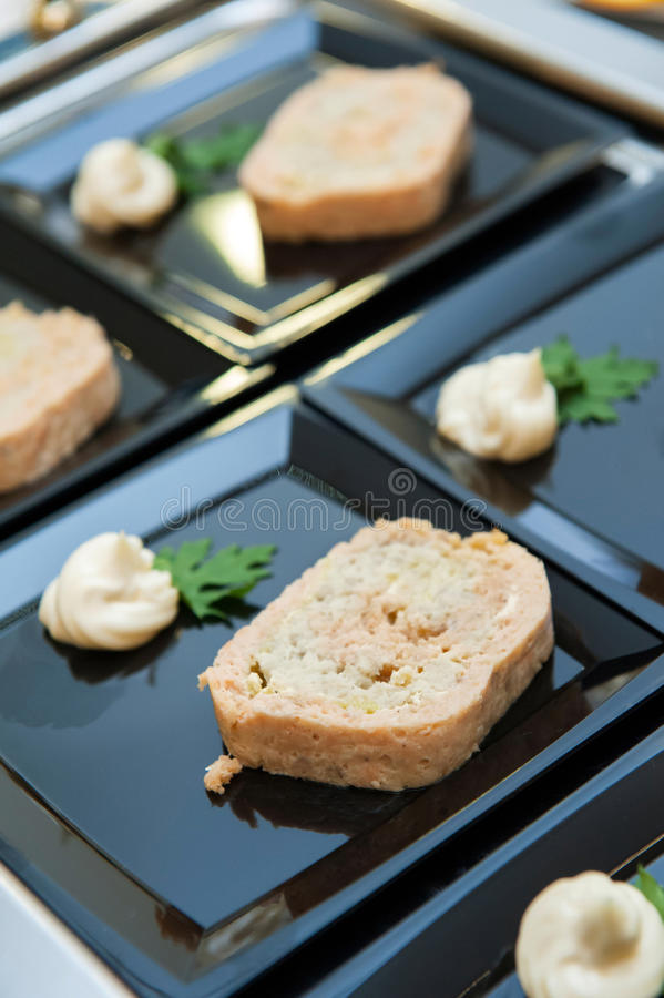 Delicious appetizer canapes royalty free stock photo