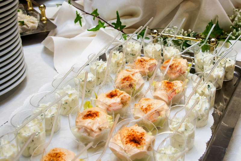Delicious appetizer canapes stock images