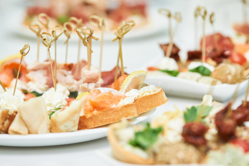 Delicious appetizer close-up. Close-up of delicious appetizer at arranging catering food set stock photography