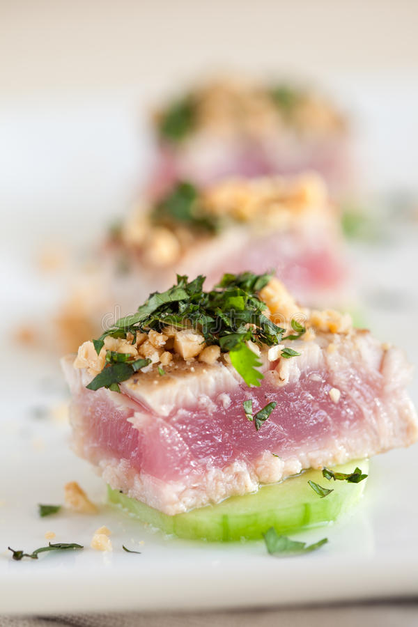 Delicious appetizer with tuna royalty free stock photo