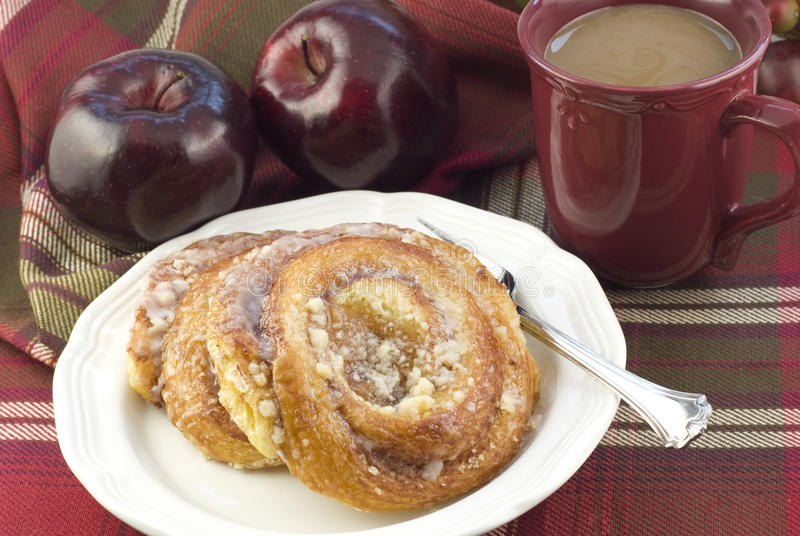Delicious Apple Danish with Coffee royalty free stock photo