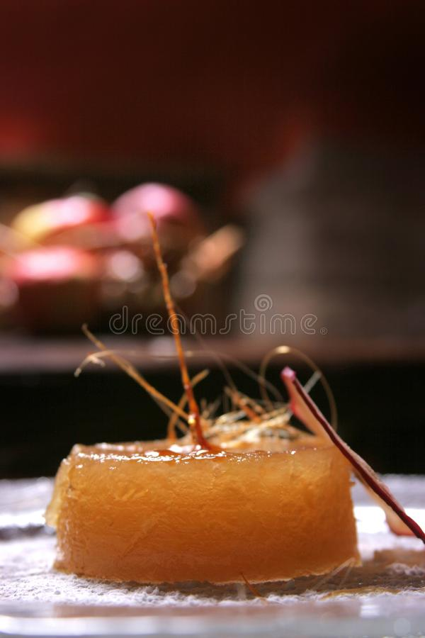 Delicious apple dessert with pudding cream royalty free stock images