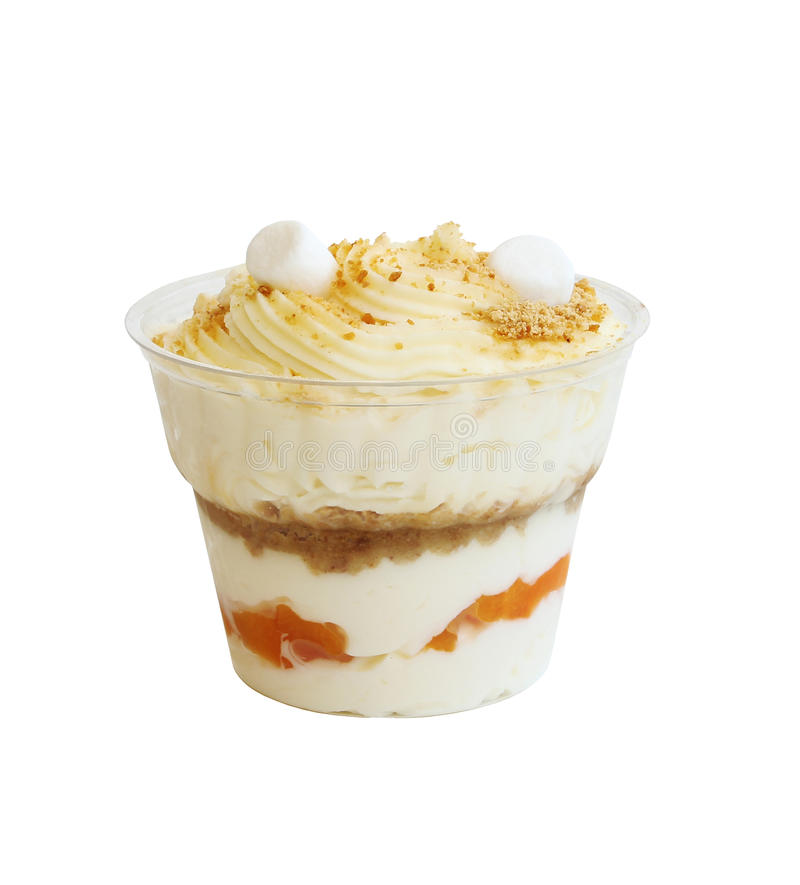 Delicious apricot yogurt in cup royalty free stock image