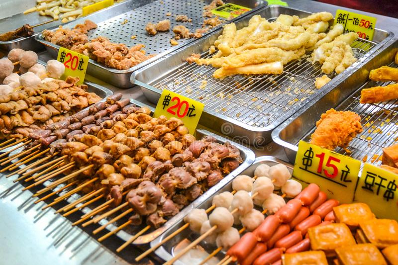 Asian food on night food court/market royalty free stock image