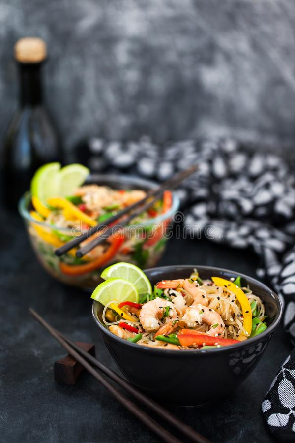 Delicious asian rice glass noodles with prawns and vegetables royalty free stock photo