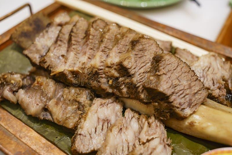 Delicious Asian style steam ribeye steak royalty free stock photos