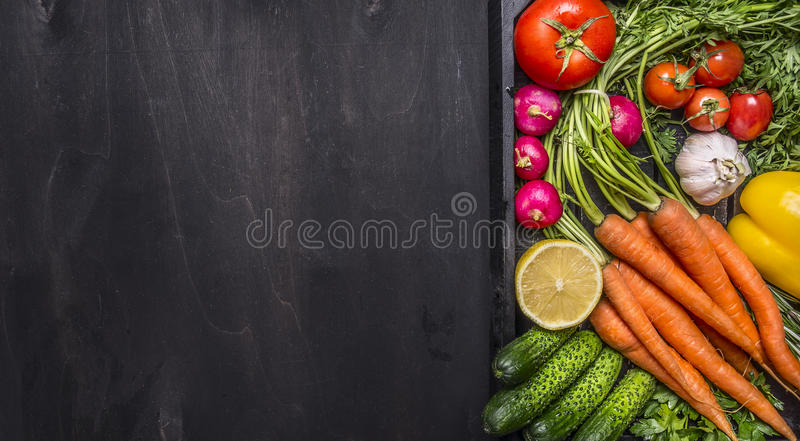 Delicious assortment of farm fresh vegetables with fresh carrots with cherry tomatoes, garlic, lemon radish, peppers, cucumbers on royalty free stock images