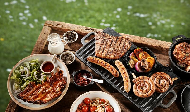 Delicious assortment of grilled meat at a BBQ royalty free stock images
