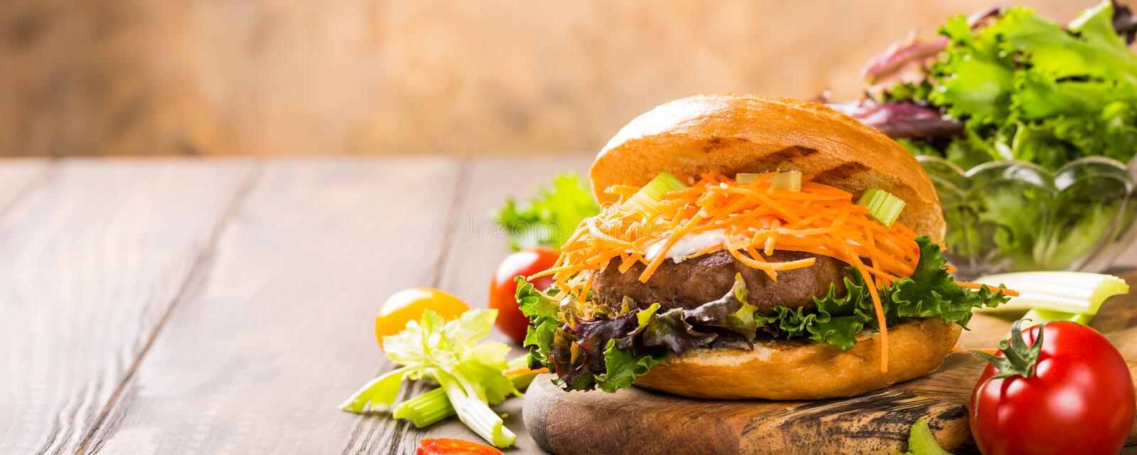 Delicious bagel burger royalty free stock image