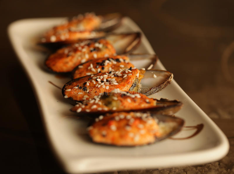 Download Delicious baked mussles stock photo. Image of lunch, plate - 39903462