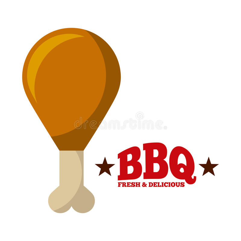 Delicious barbecue design. Fried leg of chicken over white background. delicious barbecue concept. colorful design. illustration stock illustration