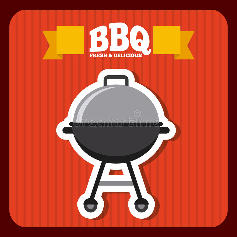 Delicious barbecue design. Grill icon over red background. colorful design. delicious barbecue concept. illlustration vector illustration