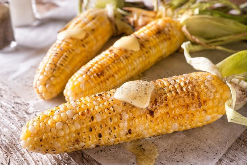 Grilled Corn on the Cob royalty free stock images