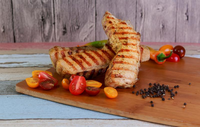 Delicious Barbecued Ribs. Homemade Grilled Pork Ready to Eat. royalty free stock photo
