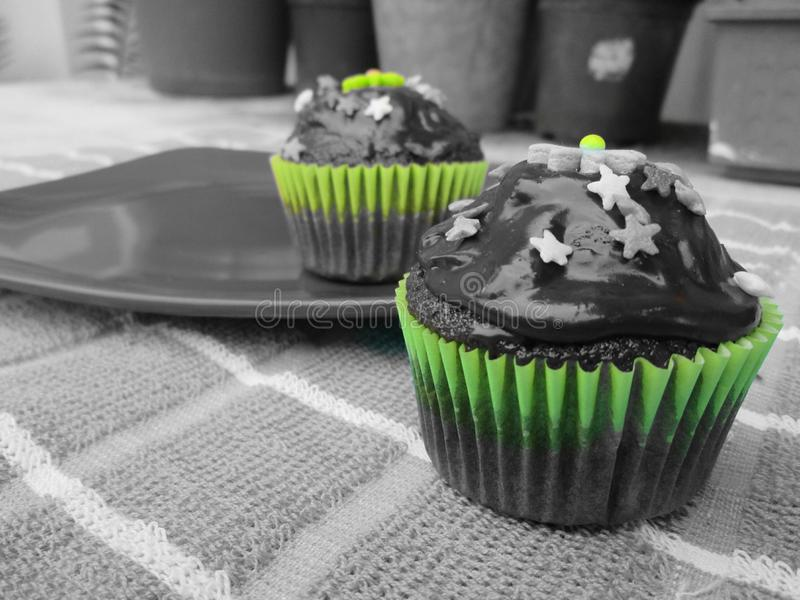 Delicious and beautifully decorated cupcakes. An image of cupcakes done in grey with some colour among the icing`s decorations stock photo