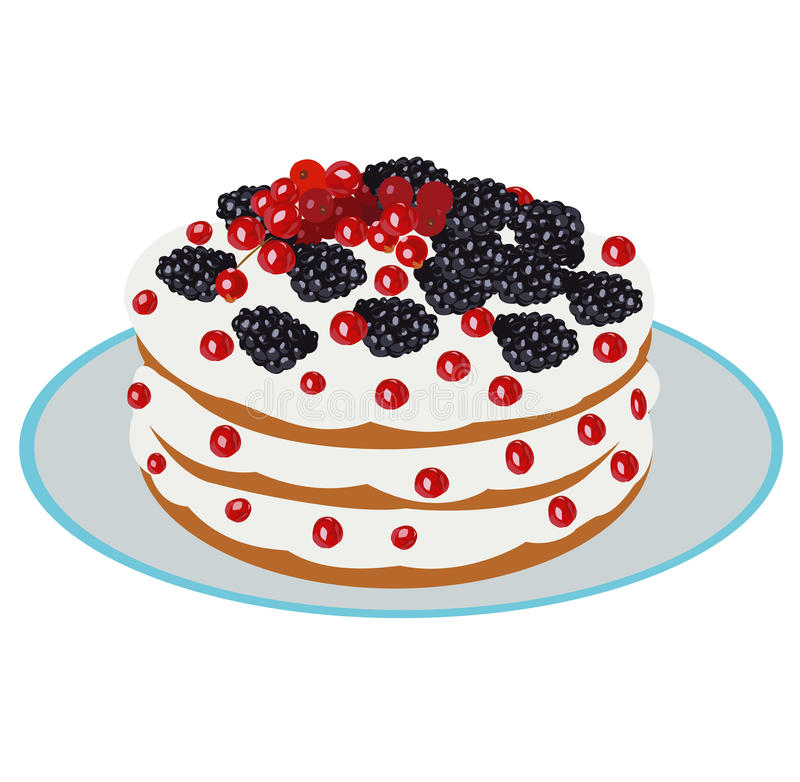 Delicious berry cake. Beautiful delicious berry cake - vector illustration stock illustration