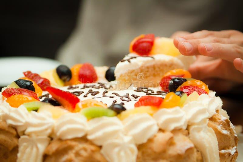 Delicious birthday cake royalty free stock photo