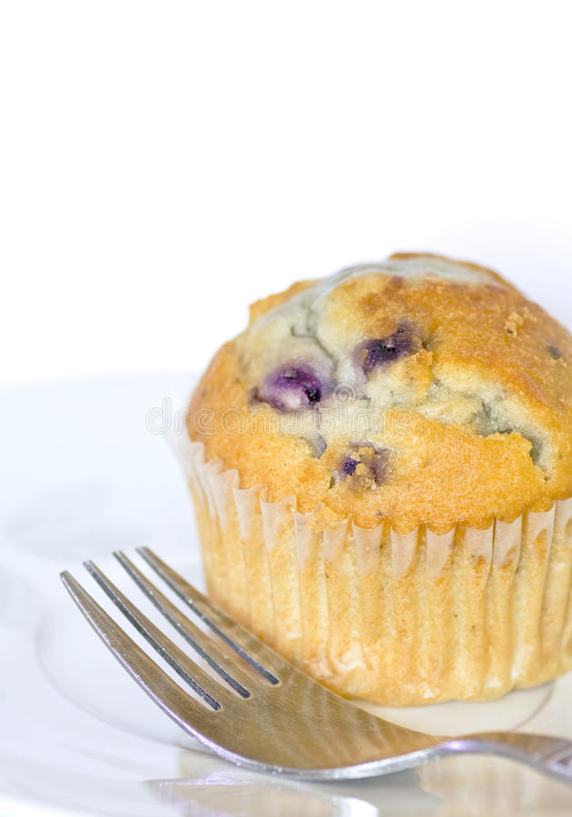 Delicious Blueberry Muffin and Fork on Plate stock photos