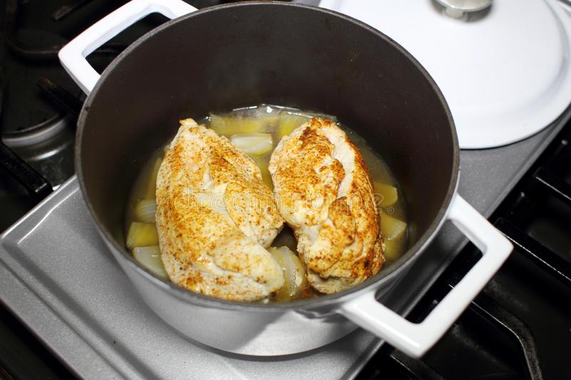 Delicious braised chicken breast cooked in a Dutch oven stock image