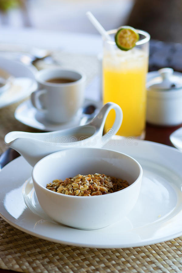 Delicious breakfast with cereals royalty free stock images